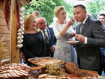 Andrzej Duda i Agata Duda na spotkaniu z rolnikami