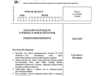 Matura 2013. Zobacz arkusze egzaminacyjne z wiedzy o społeczeństwie -...