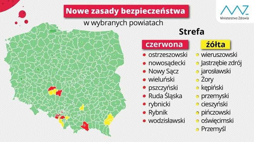 Strefy czerwone i żółte – Ministerstwo Zdrowia
