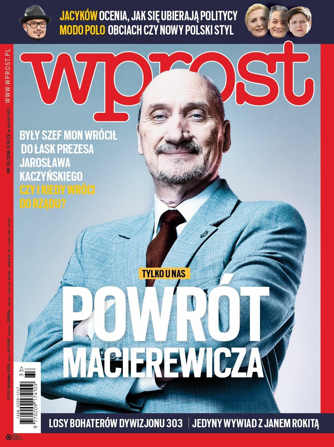 Okładka tygodnika Wprost nr 33/2018 (1848)