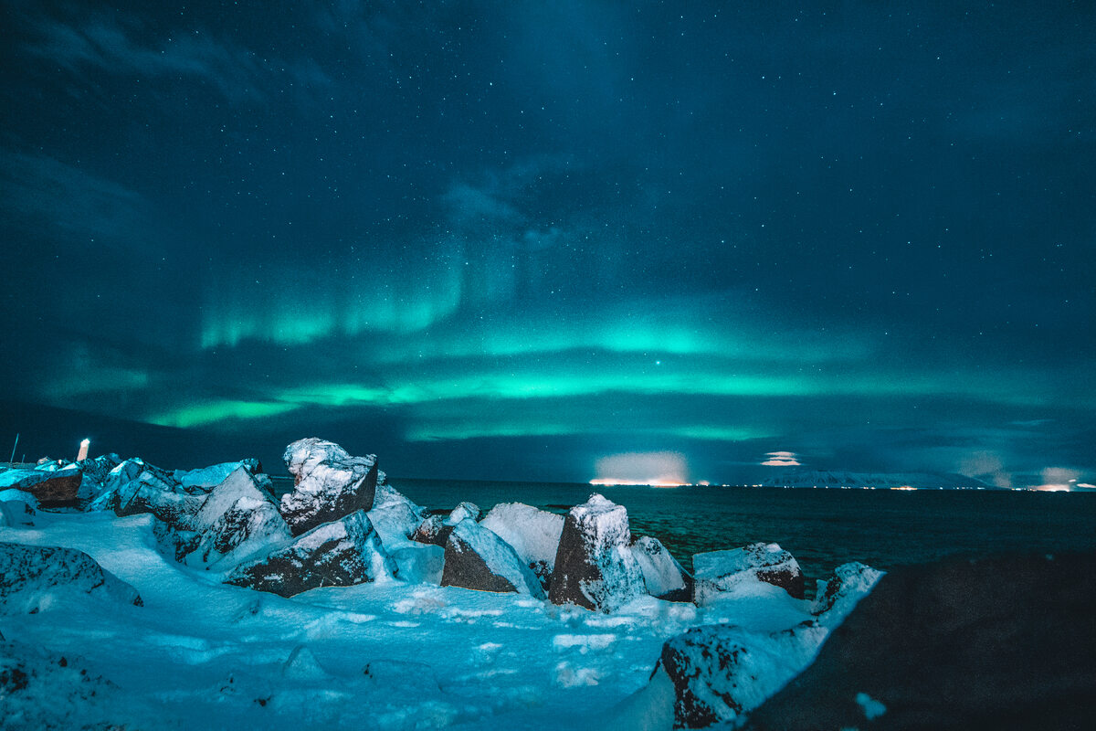 Islandia Northern light evening