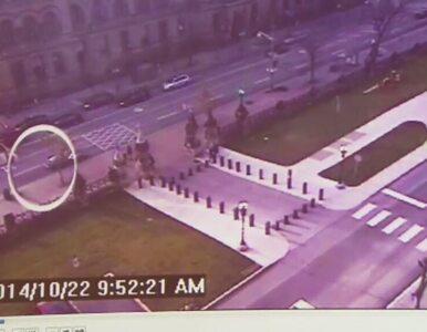 Uzbrojony zamachowiec biegnie do gmachu parlamentu w Ottawie. Zdjęcia z...