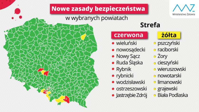 """Koronawirus w Polsce. Strefa """"czerwona"""" i """"żółta"""""""