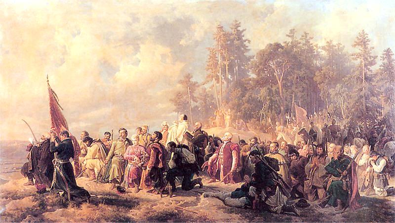 Modlitwa konfederatów barskich przed bitwą pod Lanckoroną, obraz Artura Grottgera z 1863