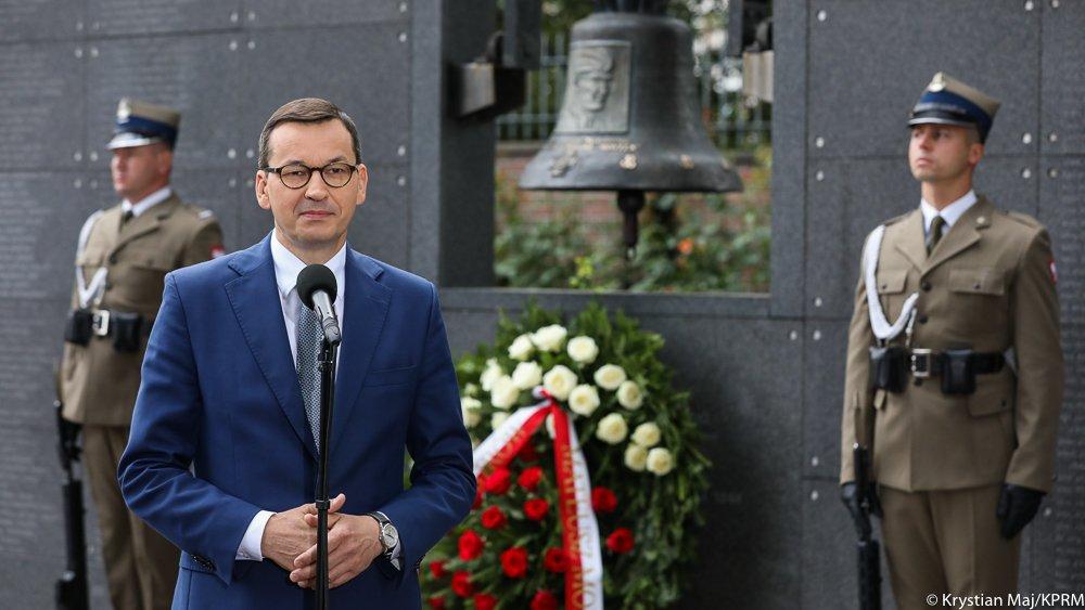 Mateusz Morawiecki podczas 76. rocznicy Powstania Warszawskiego