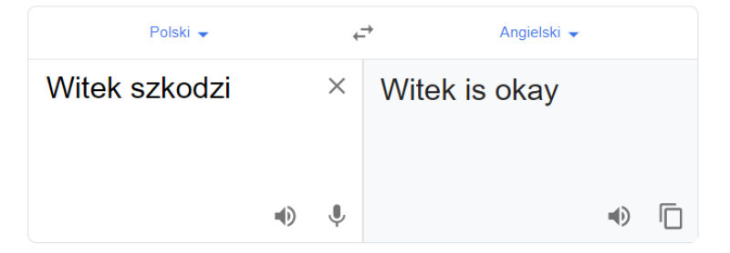 """Tłumacz Google i fraza """"Witek szkodzi"""""""