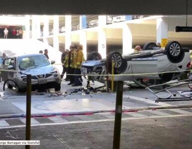 BMW spadło z trzeciego piętra parkingu. Zobacz gdzie wylądowało